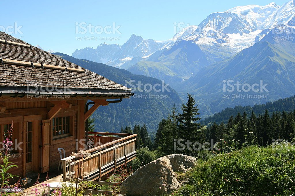 View at Mont Blanc from Chalet in Le Bettex stock photo