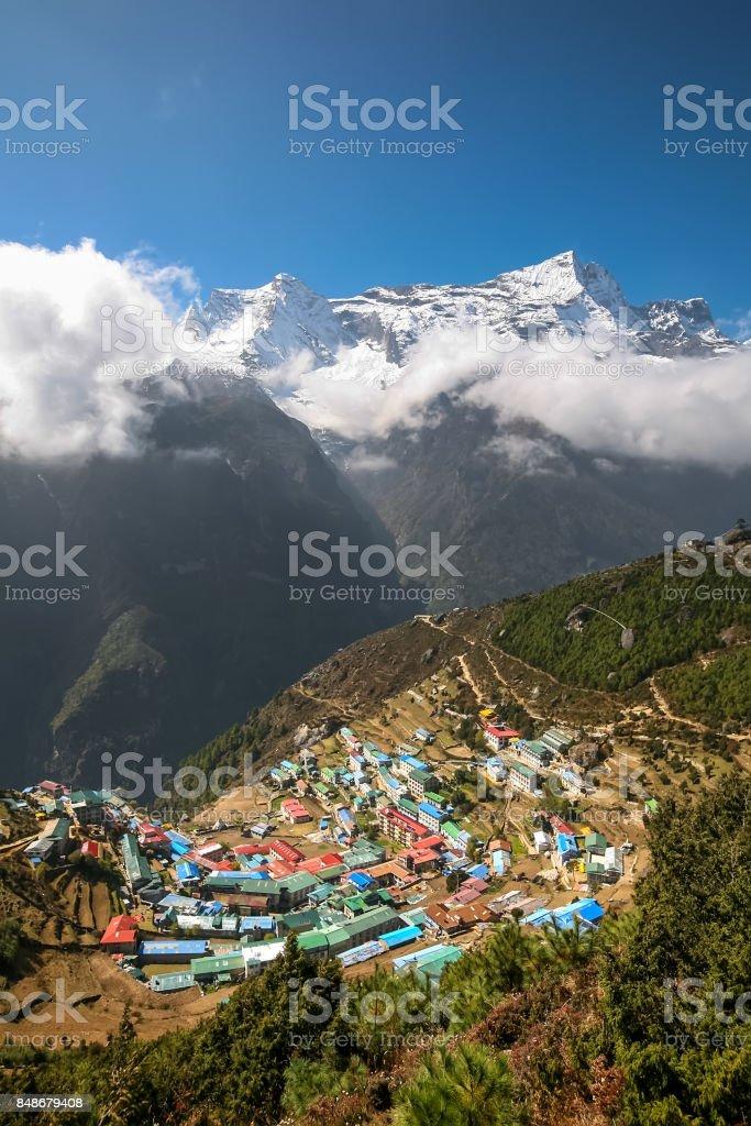 View at Namche Bazar village in Khumbu valley stock photo