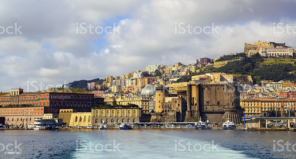 View at Naples harbor from the sea stock photo