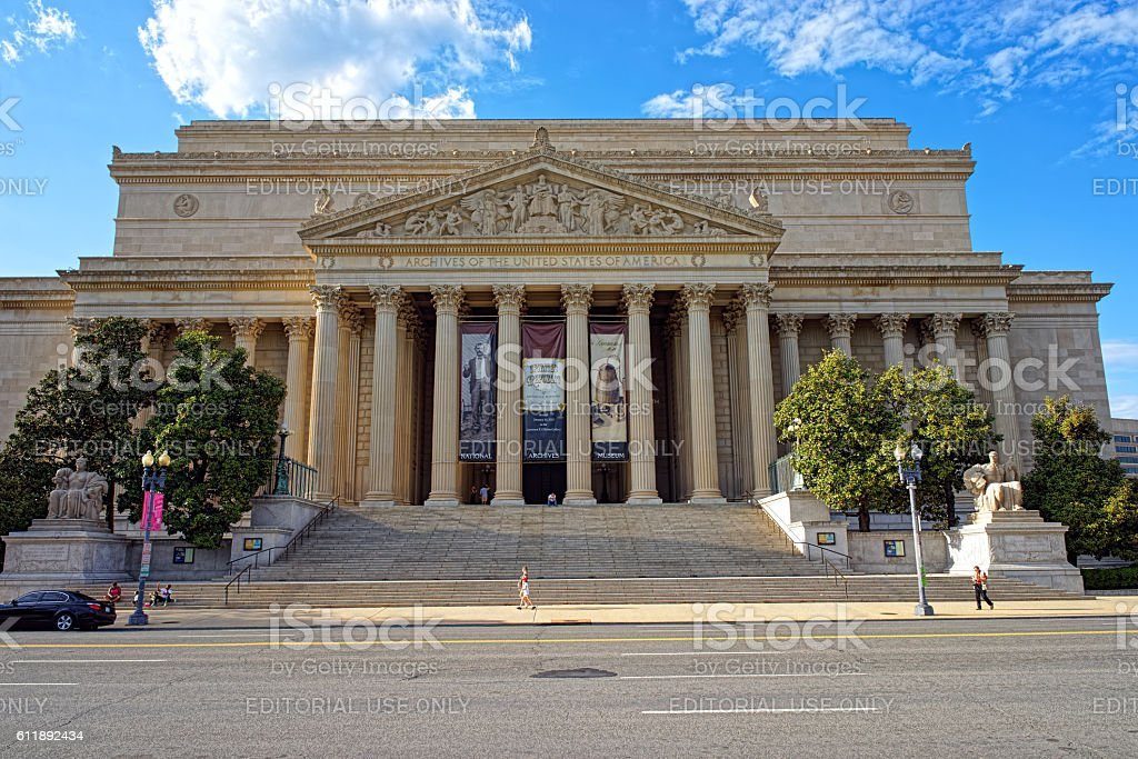 View at National Archive Building in Washington DC stock photo
