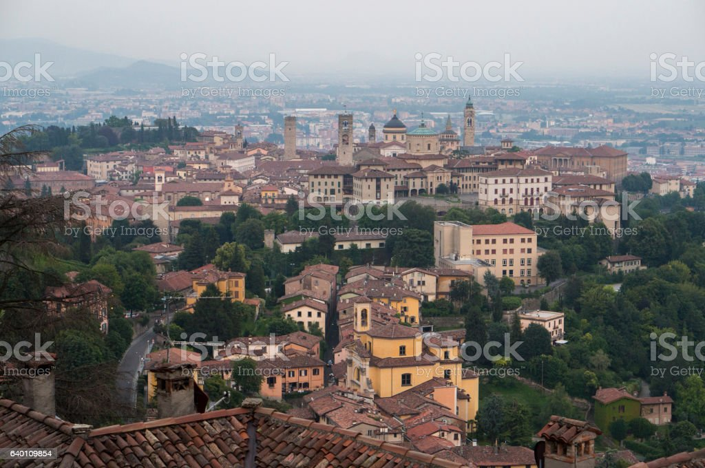 View at Old Town of Bergamo from San Vigilio Hill stock photo