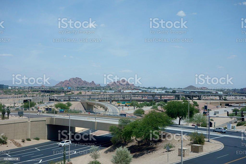 View at Papago Park from Phoenix airport, AZ stock photo