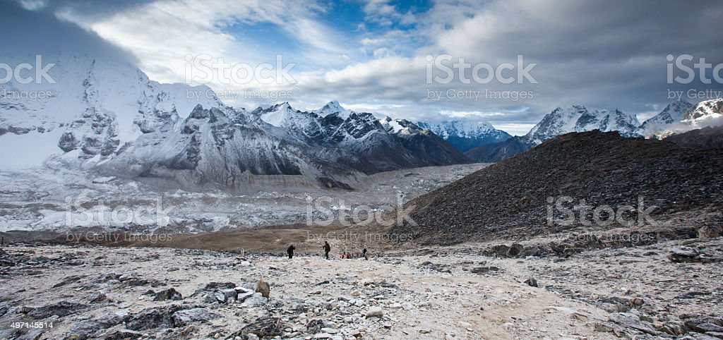 View at part of Everest basecamp in Khumbu stock photo