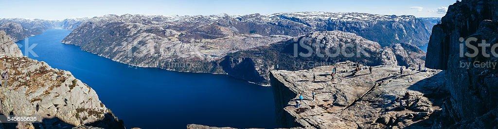 View at Preikestolen, Pulpit Rock, Lysefjorden, Norway. Famous tourist attraction. stock photo