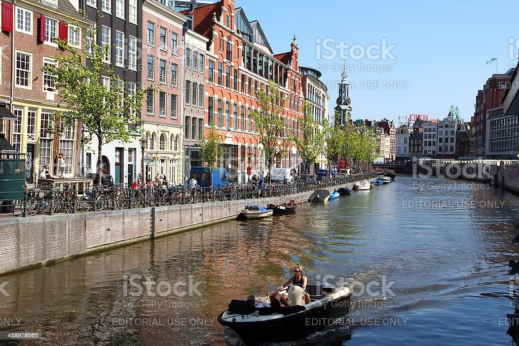 View at Singel with monumental canal houses in Amsterdam royalty-free stock photo