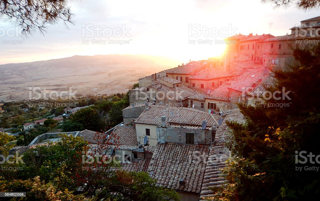 view at sunset of Volterra in Tuscany stock photo