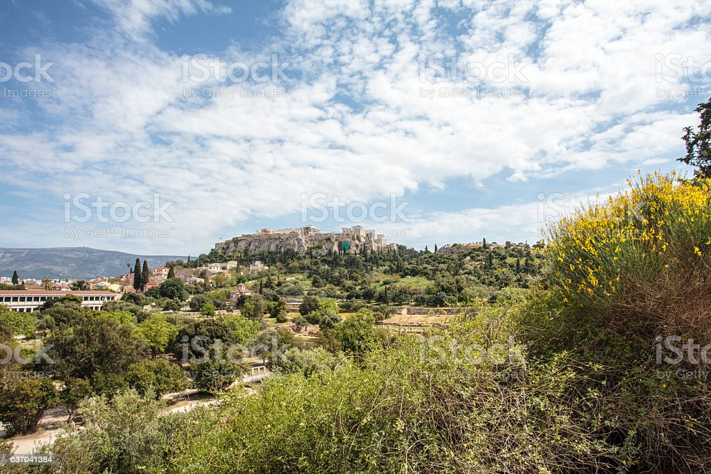 View at the Acropolis from Ancient Agora in Athens, Greece stock photo