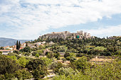 View at the Acropolis from Ancient Agora in Athens, Greece