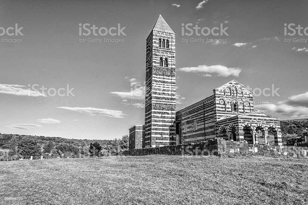 View at the Basilica Holy Trinity of Saccargia - Sardinia stock photo