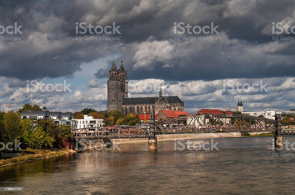 View at the Cathedral of Magdeburg, Elba and Old Bridge stock photo