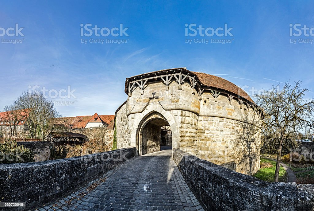 View at the city gate in Rothenburg stock photo