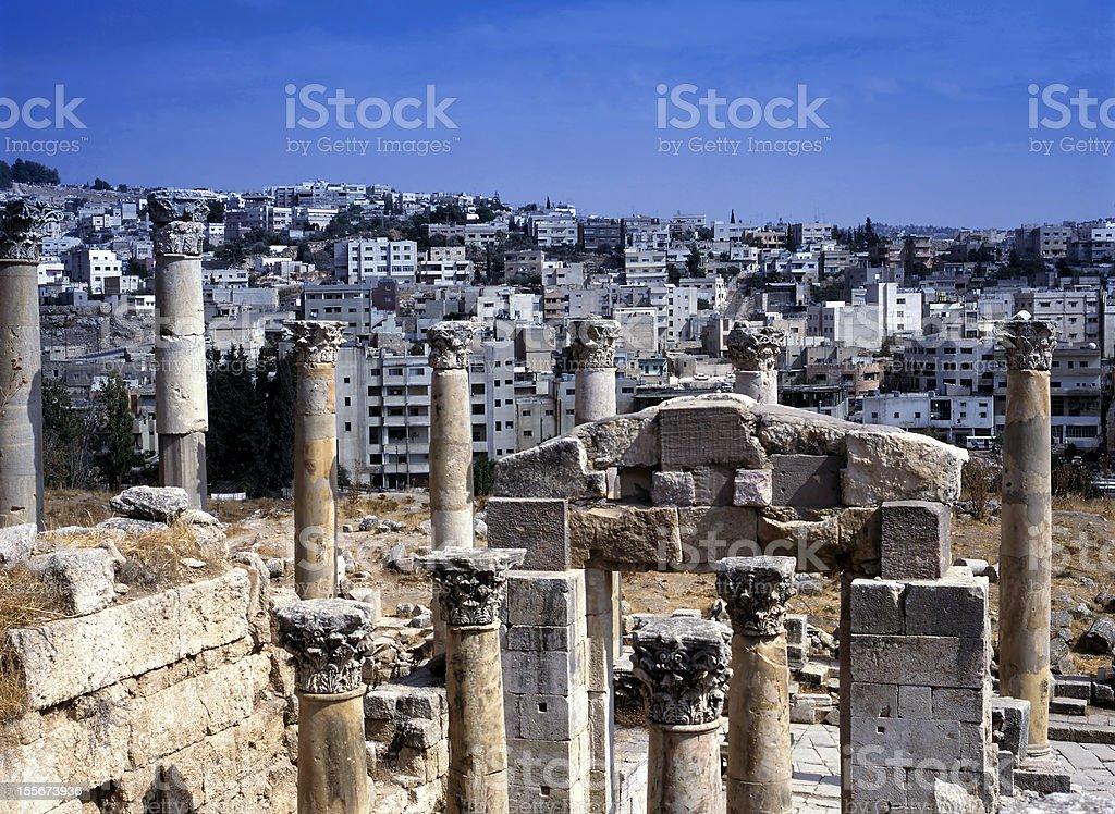 View at the modern city of Jerash, Jordan stock photo