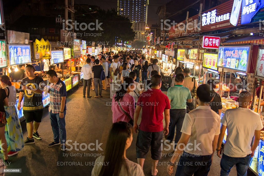 View at the night market in Nanning, China stock photo