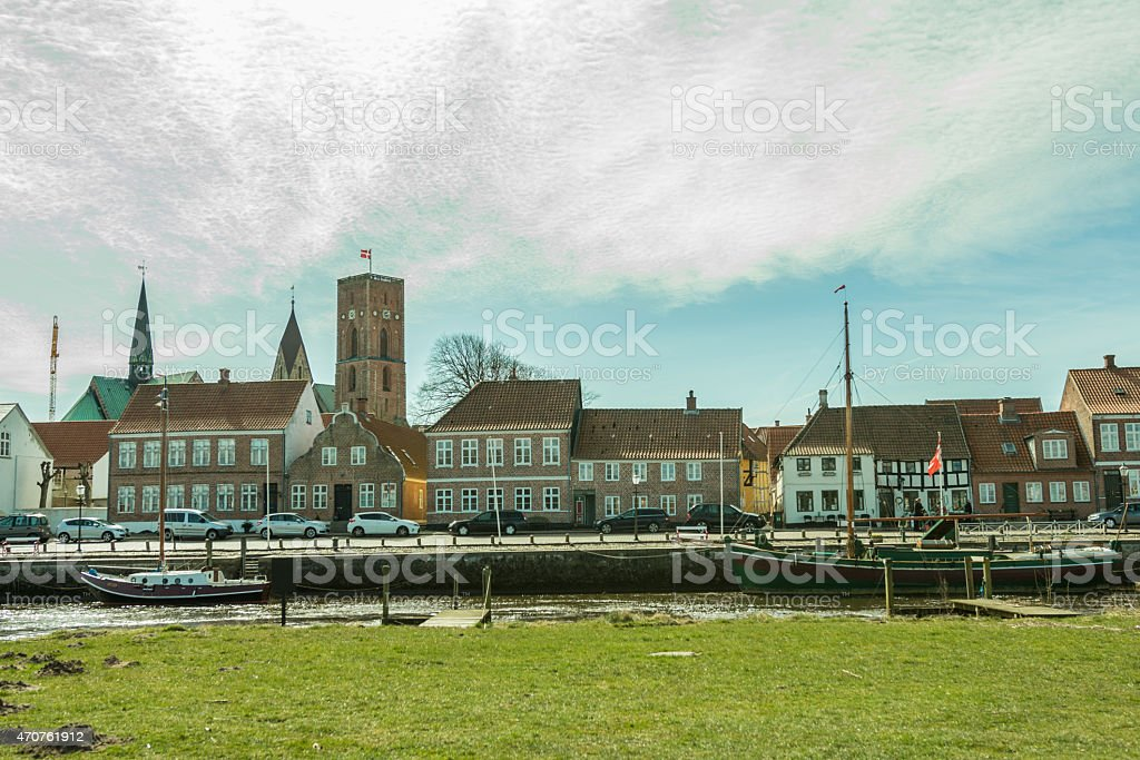 View at the old town of Ribe, Denmark. stock photo