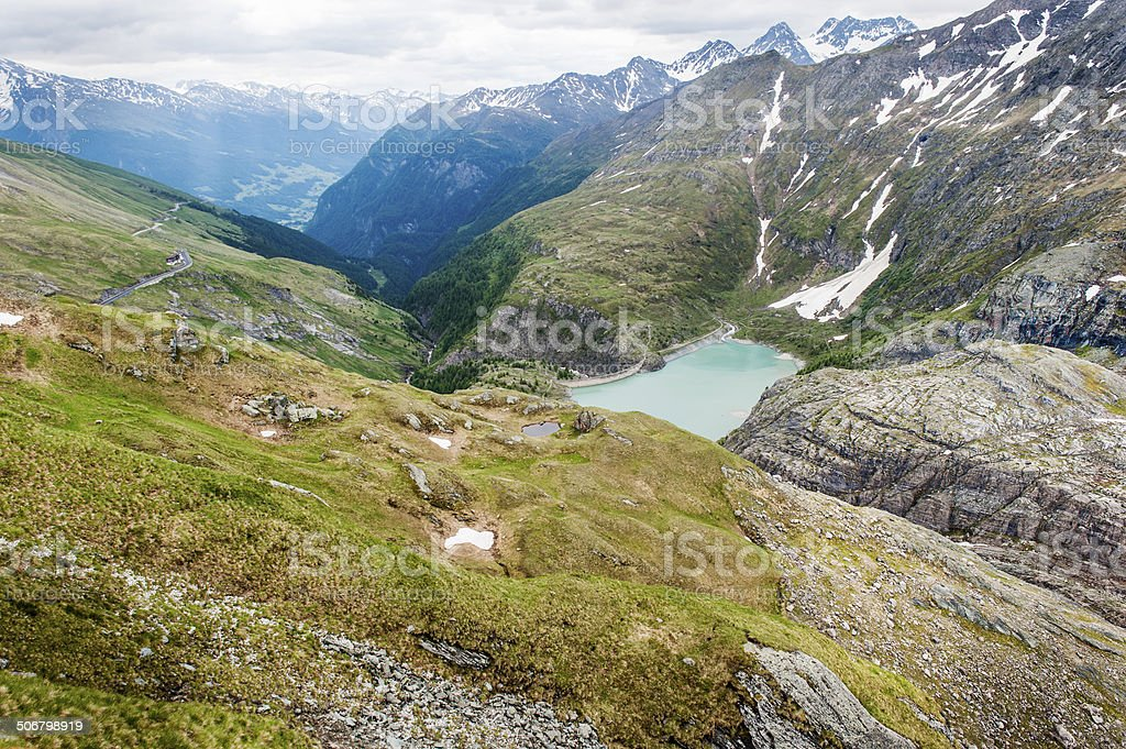 View at the Pasterze Glacier and Grossglockener Mountain royalty-free stock photo
