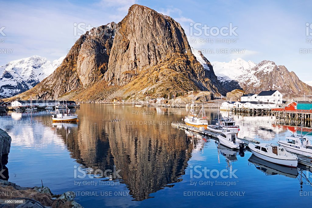 View at the small fishing village of Hamnoy,Lofoten,Norway stock photo