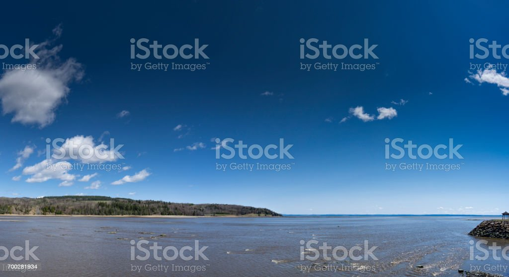 A view at the St. Lawrence river at La Malbaie, in the Regional County of Charlevoix, Quebec. stock photo