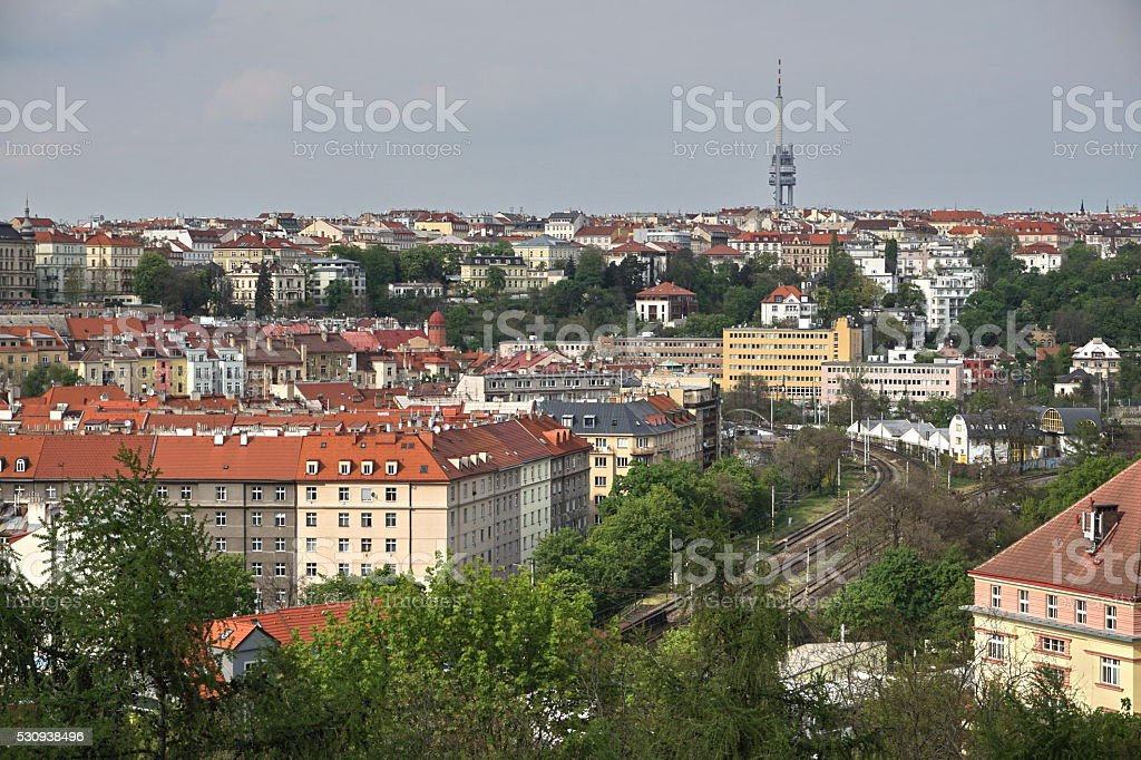 View at the TV Tower in Prague (Czech Republic, Europe) stock photo