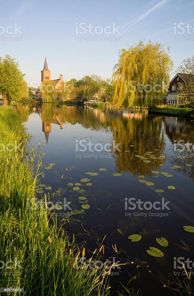 View at the village of Bleskensgraaf stock photo