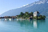 View at the village of Iseltwald on lake Brienz