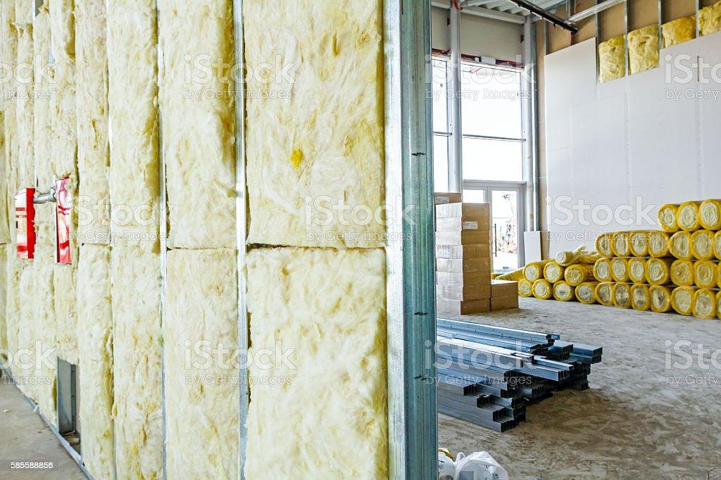 View at unfinished thermal partition dry wall stock photo