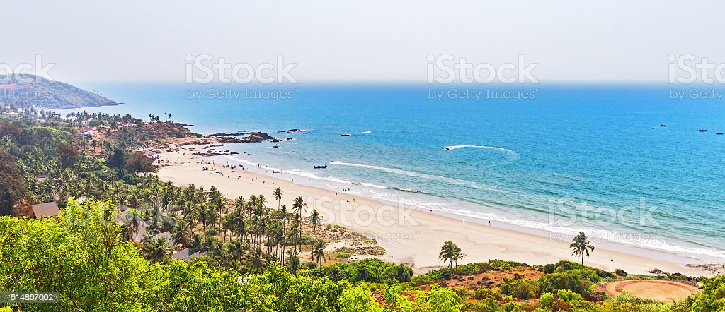 view at Vagator Beach from Chapora fort stock photo