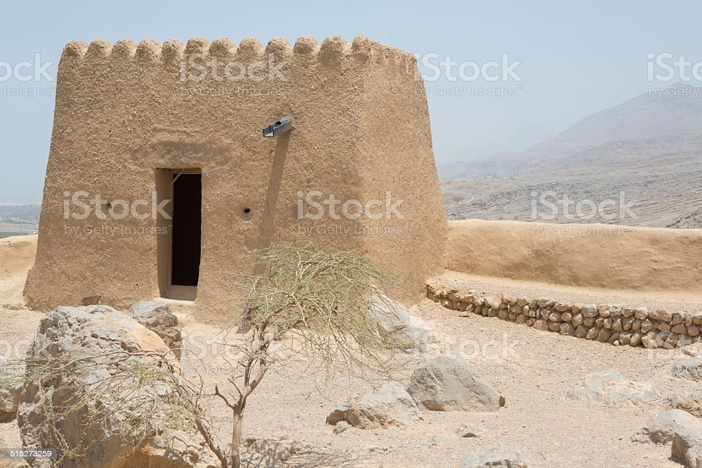 View atop of the historic Dhayah Fort, Ras al Khaimah stock photo