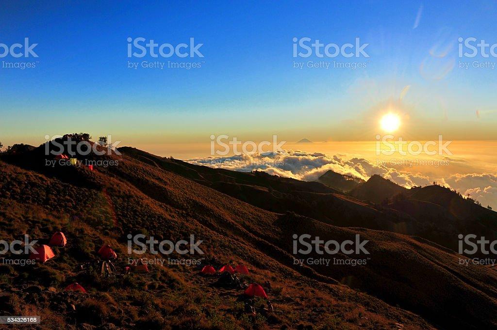 View atop on Rinjani volcano, Indonesia stock photo