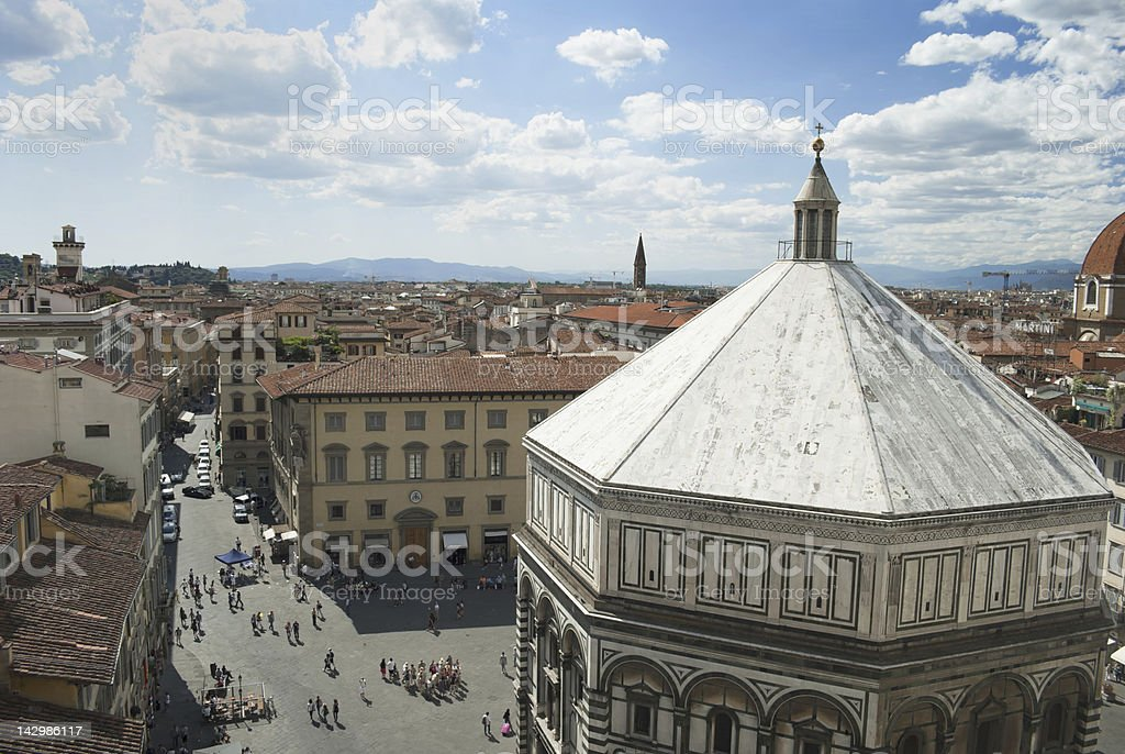 View Baptistery of Florence with copy space stock photo