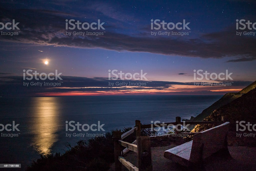 View Bench of the Moon setting. stock photo