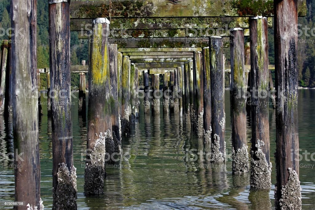 View beneath an abandoned wooden pier stock photo