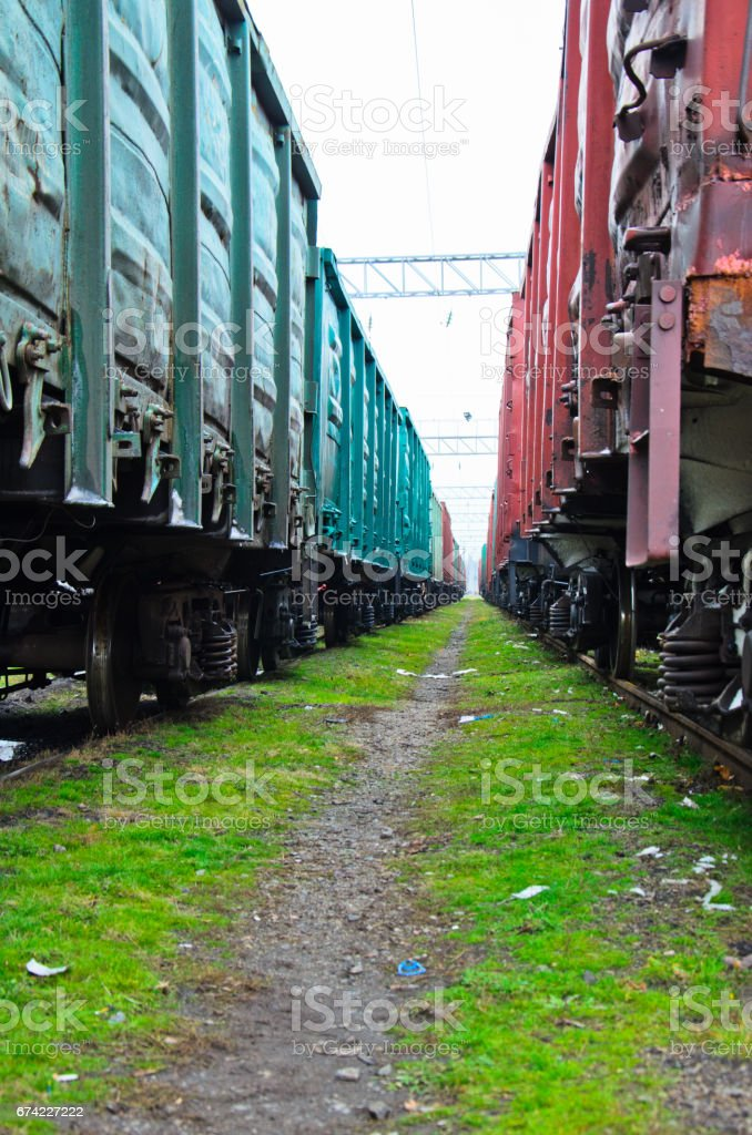 View between two cargo trains stock photo