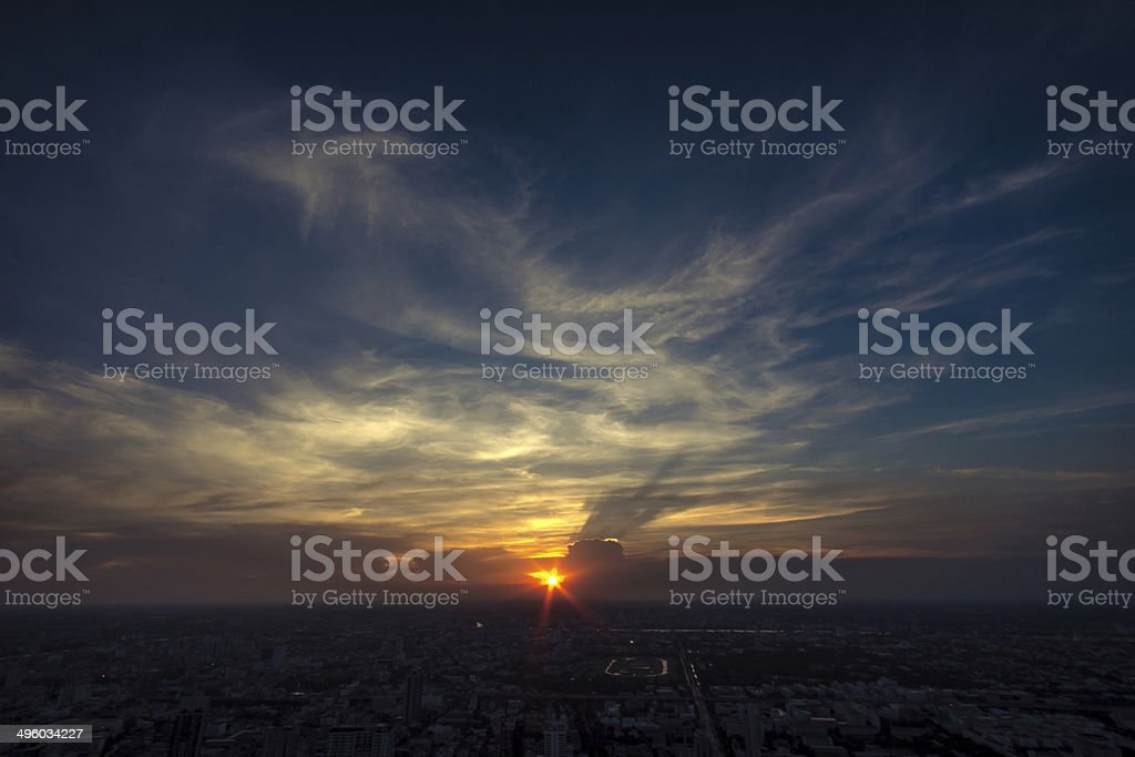 view bird's eyes in Bangkok city with sunset royalty-free stock photo