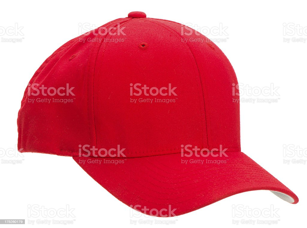 3/4 view blank red baseball cap-isolated on white stock photo