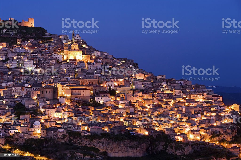 view by night old italian village at twilight stock photo