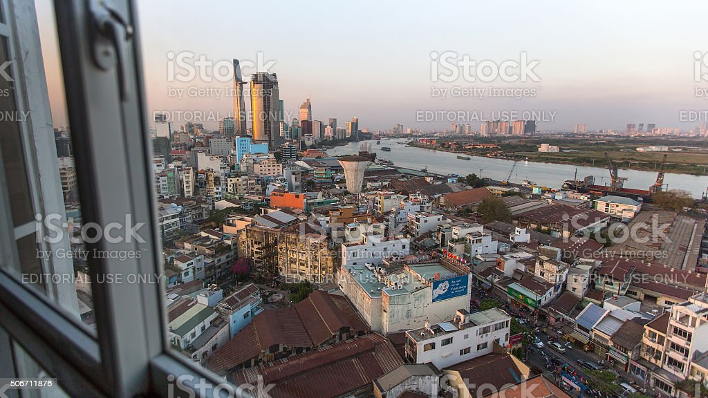 View center of city from the windows of  house stock photo