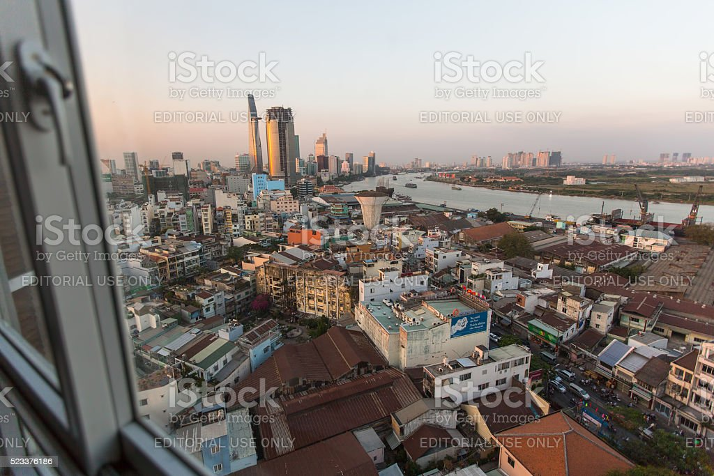 View center of city from the windows of the house stock photo