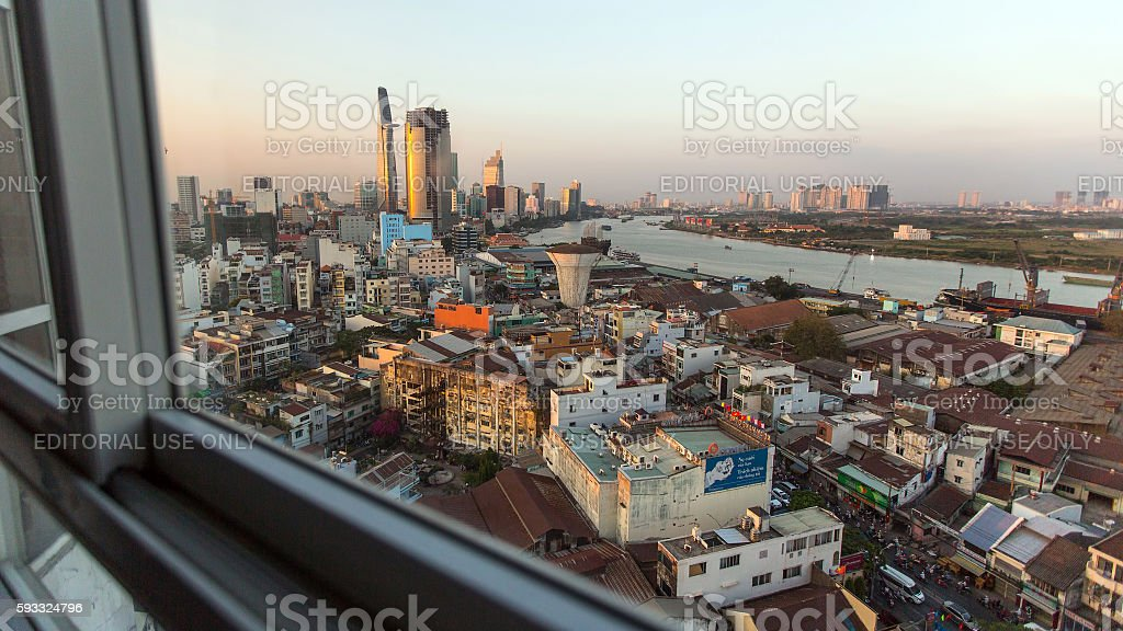View center of city from the windows of the house. stock photo
