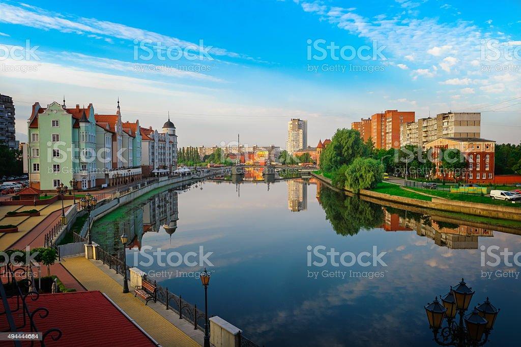 View center of Kaliningrad and Pregolya River stock photo