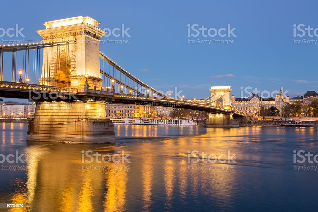View Chain Bridge and Basilica in Budapest at dusk stock photo