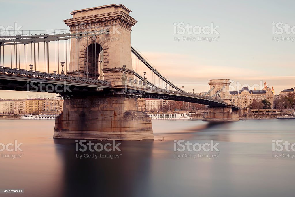 View Chain Bridge and Basilica in Budapest at sunset stock photo