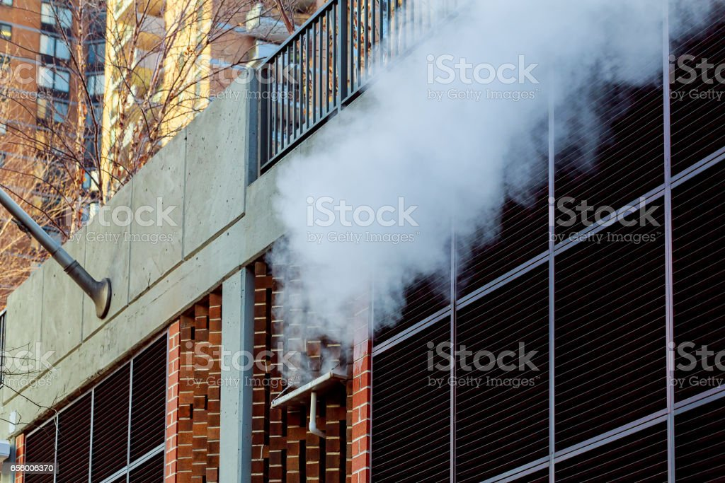 view chimneys, buildings and infrastructure, lignite-fired power stock photo