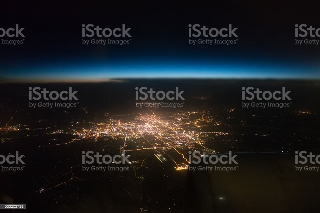 View city night  from the window of an airplane stock photo