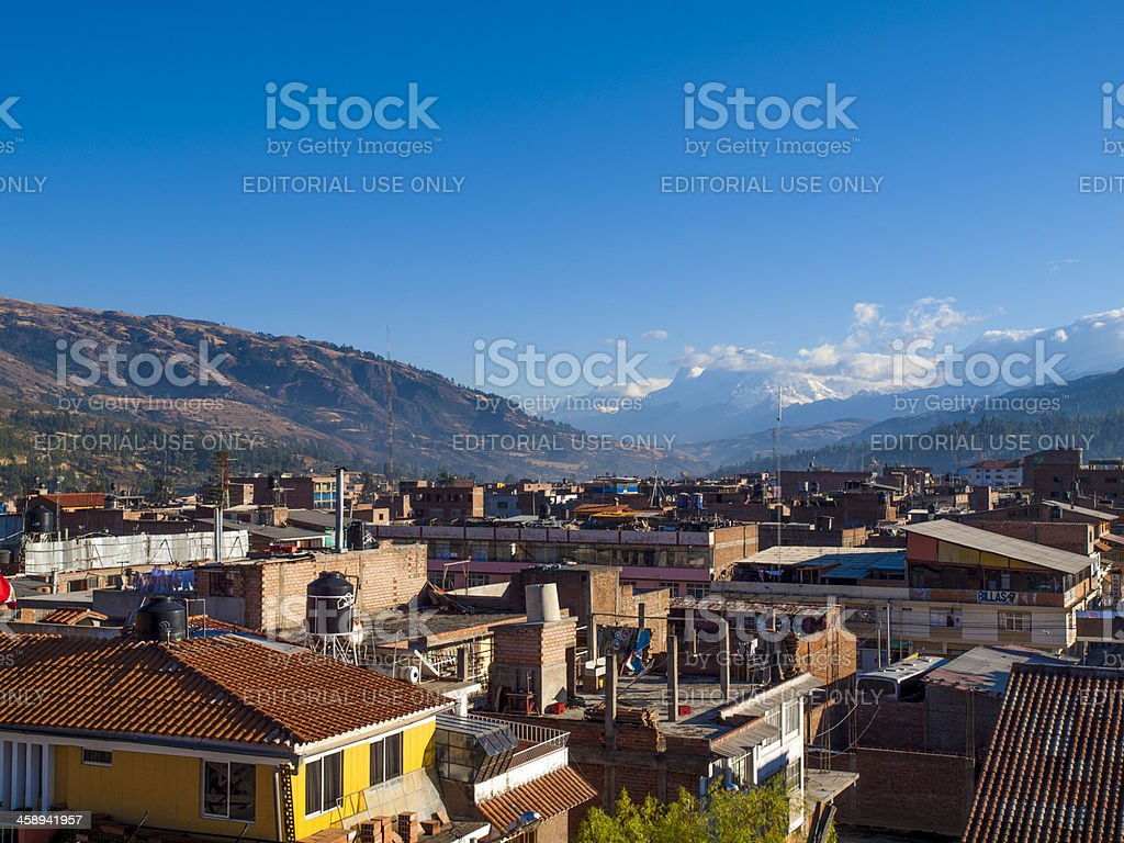 View city of Huaraz in the Cordillera Blanca. Peru stock photo
