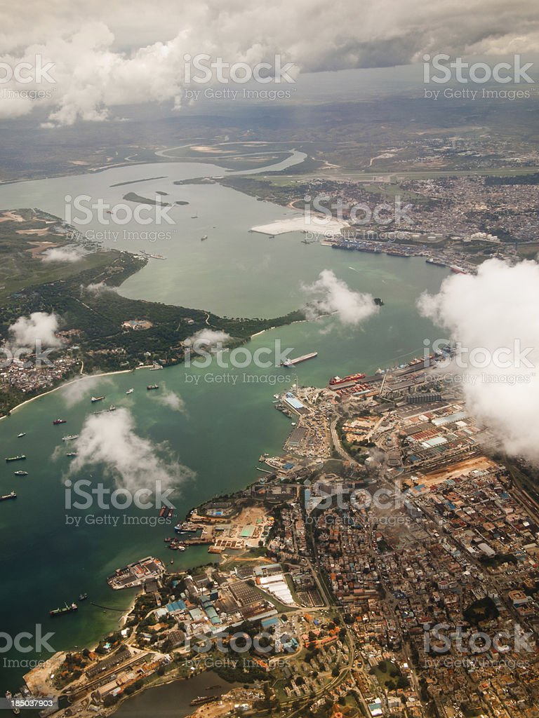 View city of Mombasa from above stock photo