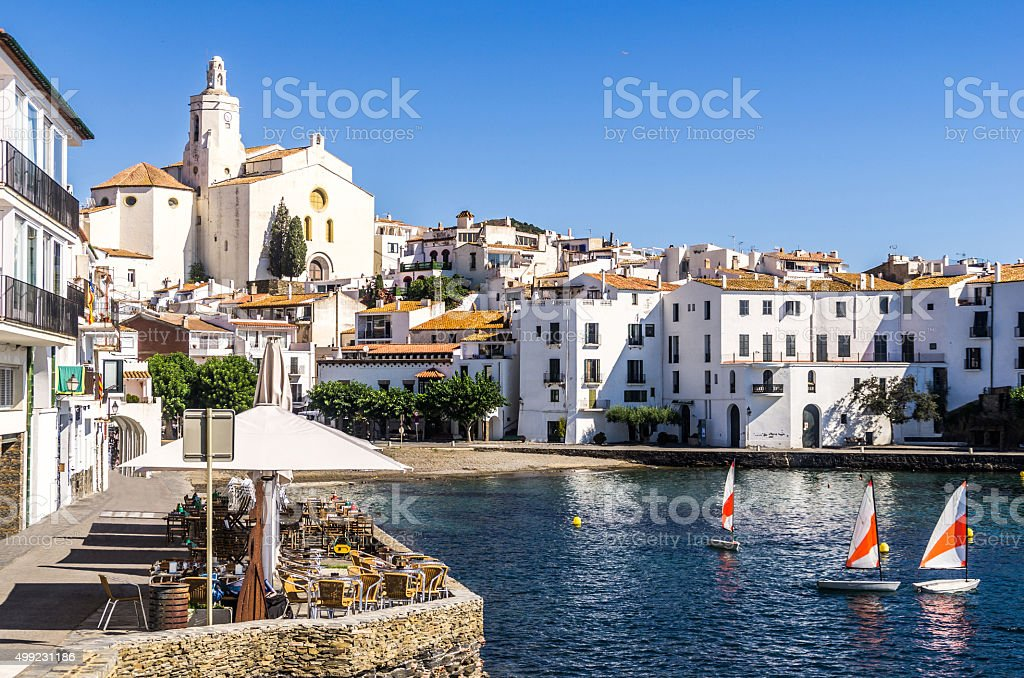 view close cadaques costa brava blue boats coast sea horizontal stock photo