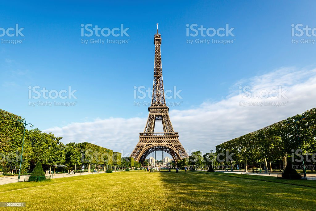 View down Champ de Mars to Eiffel Tower stock photo