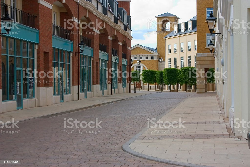View down empty street of new town in England royalty-free stock photo