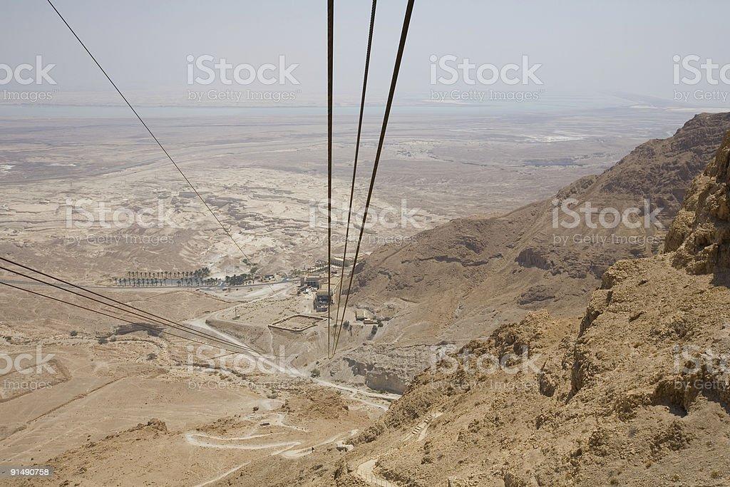 View down from a cable car Masada Israel royalty-free stock photo