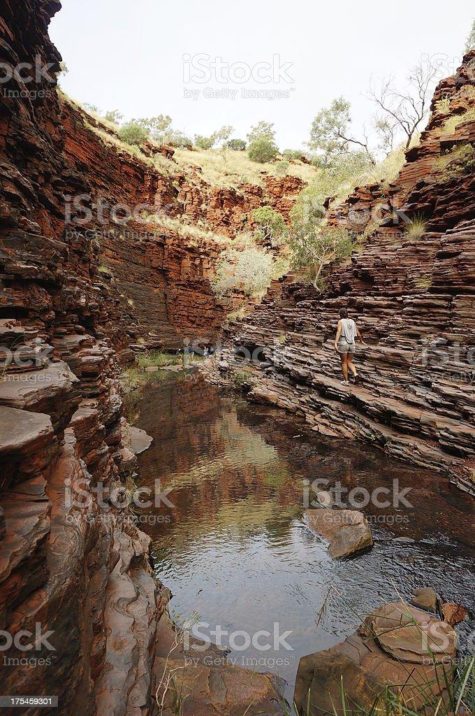 View down Hancock Gorge at Karijini National Park stock photo